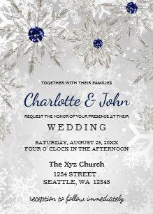 Winter wedding invitations wonderful for winter weddings zazzle silver navy snowflakes winter wedding invitation junglespirit Images