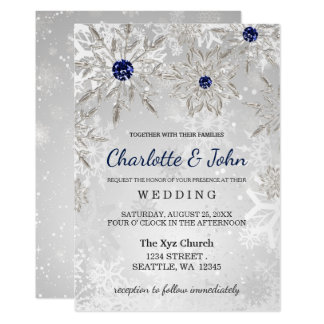 silver navy snowflakes winter wedding invitation - Pictures Of Wedding Invitations