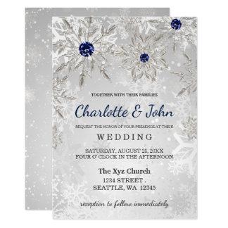 Nice Silver Navy Snowflakes Winter Wedding Invitation