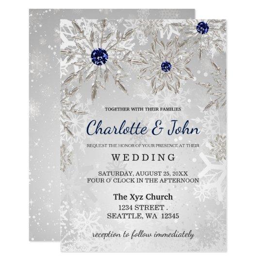 High Quality Silver Navy Snowflakes Winter Wedding Invitation