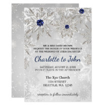 silver navy snowflakes winter wedding invitation