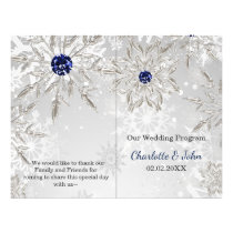 silver navy snowflakes winter wedding program