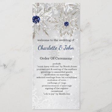 silver navy snowflakes winter wedding programs