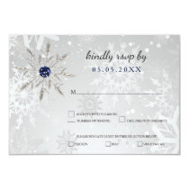 silver navy snowflakes winter wedding rsvp card