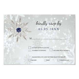 silver navy snowflakes winter wedding rsvp invitation