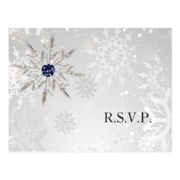 silver navy snowflakes winter wedding rsvp postcard