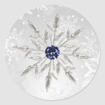 silver navy snowflakes winter wedding stickers