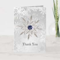 silver navy snowflakes winter wedding Thank You