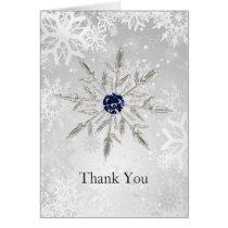 silver navy snowflakes winter wedding Thank You