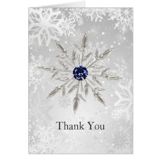 Silver Navy Snowflakes Winter Wedding Thank You Card at Zazzle