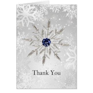 silver navy snowflakes winter wedding Thank You Card