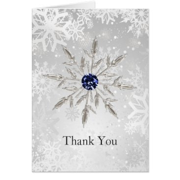 silver navy snowflakes winter wedding Thank You Card