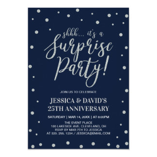 Silver & Navy, Surprise 25th Wedding Anniversary Invitation