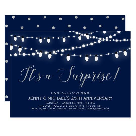 Silver Navy Surprise 25th Wedding Anniversary Invitation