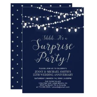 Silver & Navy | Surprise 25th Wedding Anniversary Invitation