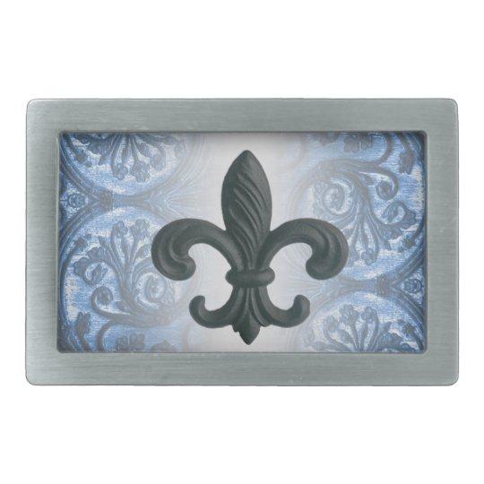 """silver/navy theme"" Iron Fleur de Lis BELT BUCKLE"
