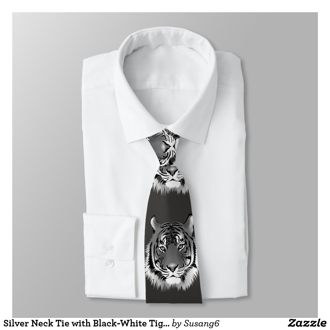 Silver Neck Tie with Black-White Tiger