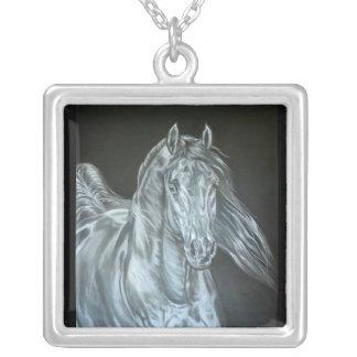 Silver Square Pendant Necklace
