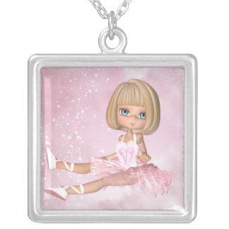 Silver Necklace Cute Little Ballarina - Ballet