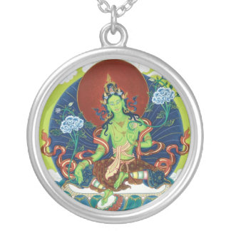 Green tara necklaces lockets zazzle silver necklace amp pendant green tara mozeypictures Images