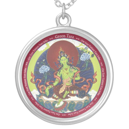 SILVER NECKLACE & PENDANT Green Tara