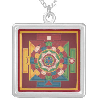 SILVER NECKLACE PENDANT Mandala of 5 Elements