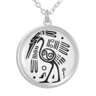 Silver Necklace With Mayan Bird Design