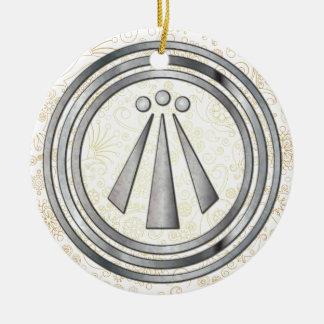 Silver Neo-Druid symbol of Awen 1 Ceramic Ornament