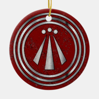 Silver Neo-Druid symbol of Awen on Red Ceramic Ornament