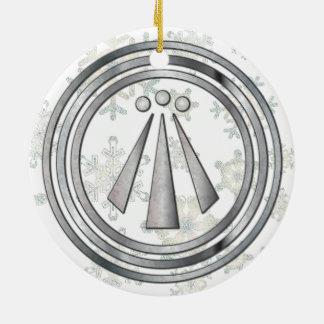 Silver Neo-Druid symbol of Awen & snowflake Ceramic Ornament