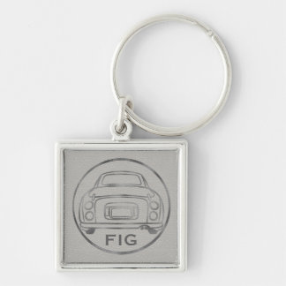 Silver Nissan Figaro-Grey Leather w/ Initials Silver-Colored Square Keychain
