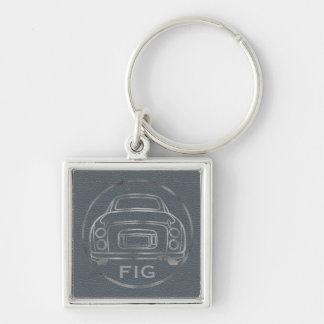 Silver Nissan Figaro-Lapis Leather w/ Initials Silver-Colored Square Keychain