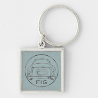 Silver Nissan Figaro-Pale Blue Leather w/ Initials Silver-Colored Square Keychain
