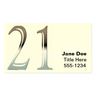 Silver Number 21 Business Card Templates