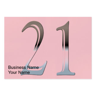 Silver Number 21 Business Card Template