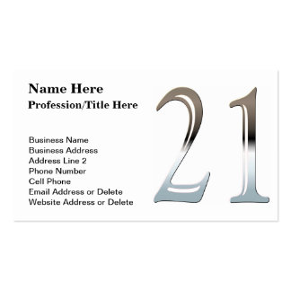 Silver Number 21 Business Cards