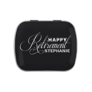 Silver old and Black Retirement Party Party Favors Jelly Belly Candy Tins