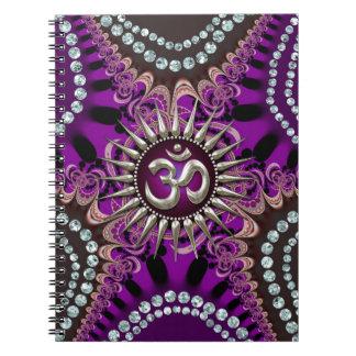 Silver Om Purple Eastern Sparkle Notebook