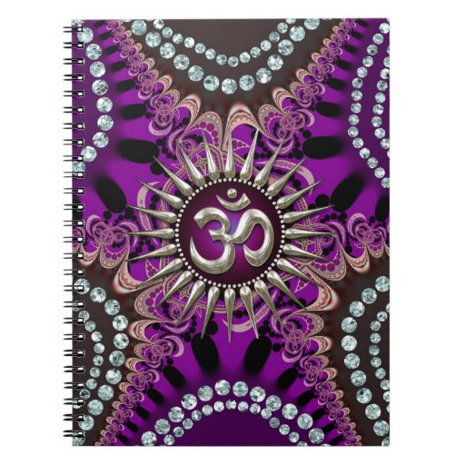 Silver Om Purple Eastern Sparkle Notebook