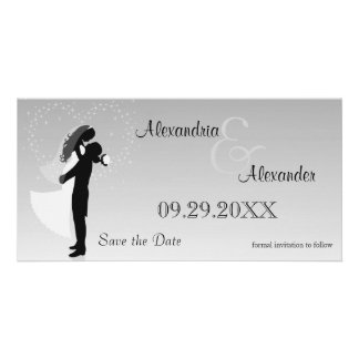 Silver Ombre Silhouette Save The Date Reminder Photo Card