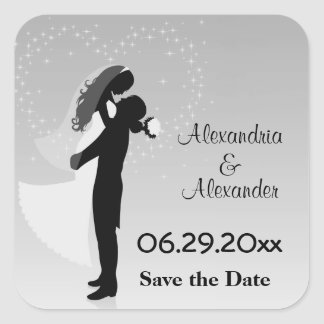 Silver Ombre Silhouette Save The Date Sticker