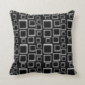SIlver on Black Feeling Sixties Pillow