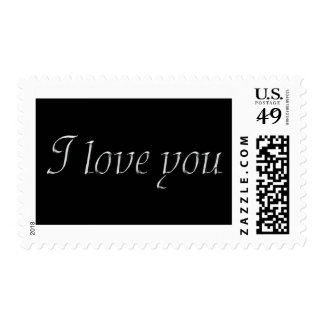 Silver on Black I love you Stamp