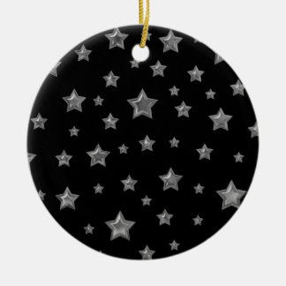 Silver On Black Starry Ornament
