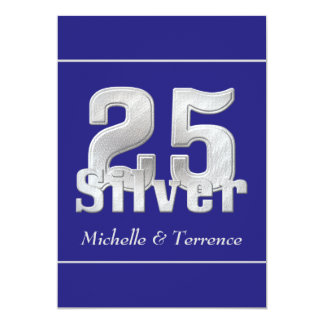 Silver on Blue 25th Wedding Anniversary Party Invitation