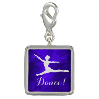 Silver on Blue Dancer Photo Charm