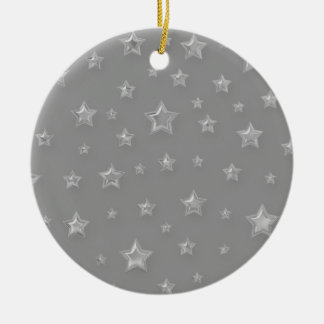 Silver On Gray Starry Ornament