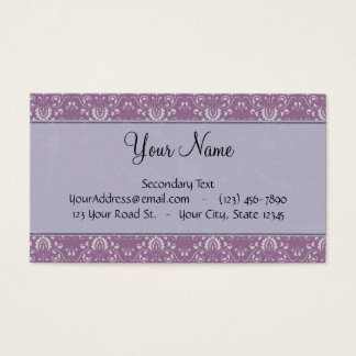 Silver on Lavender Damask with Stripes & Monogram Business Card
