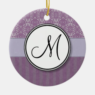 Silver on Lavender Damask with Stripes & Monogram Ceramic Ornament
