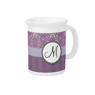 Silver on Lavender Damask with Stripes & Monogram Drink Pitchers